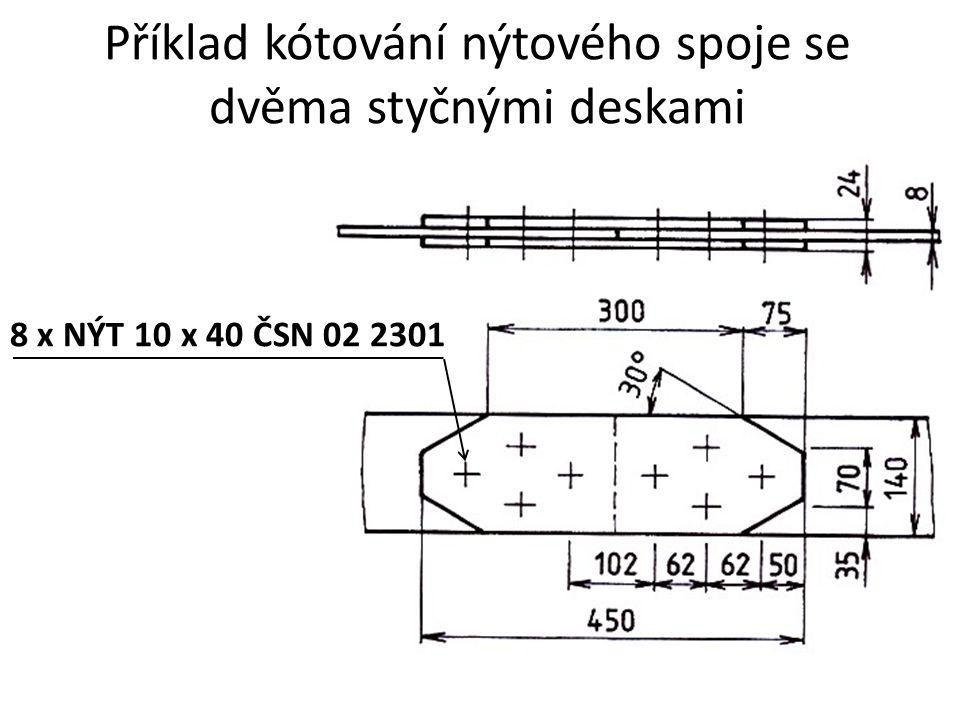 Příklad kótování nýtového spoje se dvěma styčnými deskami 8 x NÝT 10 x 40 ČSN 02 2301