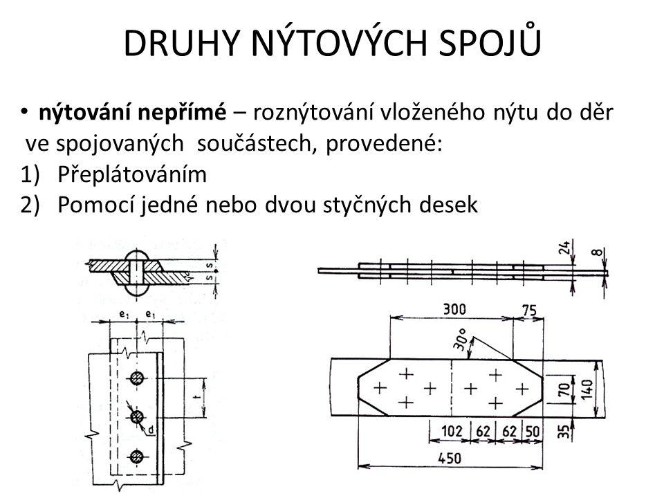 DRUHY NÝTOVÝCH SPOJŮ nýtování nepřímé – roznýtování vloženého nýtu do děr ve spojovaných součástech, provedené: 1)Přeplátováním 2)Pomocí jedné nebo dvou styčných desek