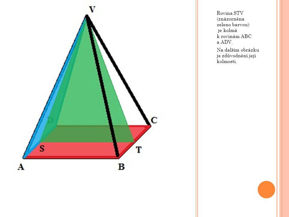 Rovina STV (znázorněna zeleno barvou) je kolmá k rovinám ABC a ADV. Na dalším obrázku je zdůvodnění její kolmosti.