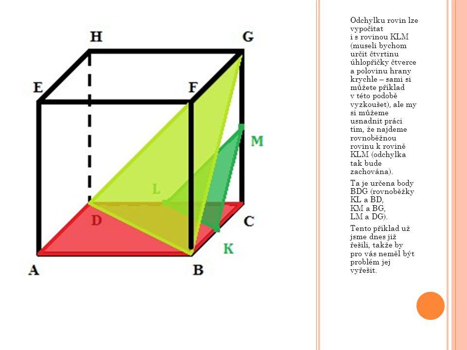 Odchylku rovin lze vypočítat i s rovinou KLM (museli bychom určit čtvrtinu úhlopříčky čtverce a polovinu hrany krychle – sami si můžete příklad v této