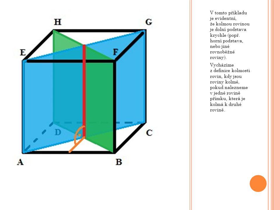V tomto příkladu je evidentní, že kolmou rovinou je dolní podstava krychle (popř. horní podstava, nebo jiné rovnoběžné roviny). Vycházíme z definice k