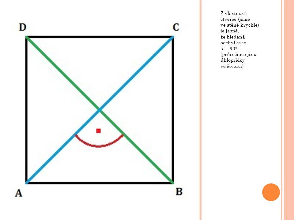 V krychli ABCDEFGH o hraně 8 cm určete odchylku rovin ABC a BDE.