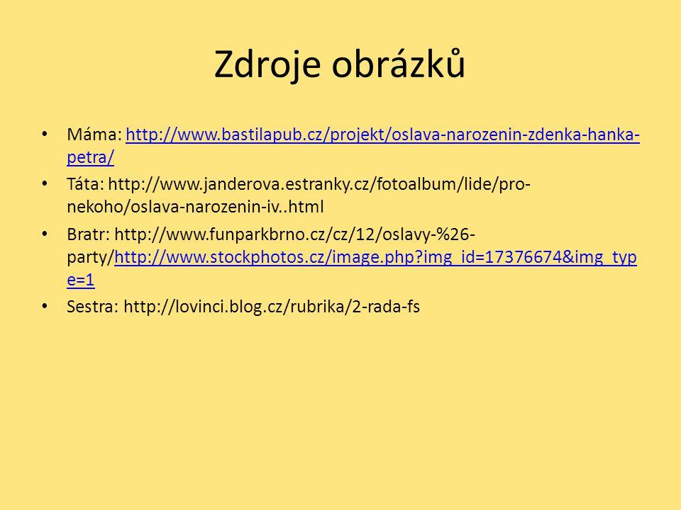 Zdroje obrázků Máma: http://www.bastilapub.cz/projekt/oslava-narozenin-zdenka-hanka- petra/http://www.bastilapub.cz/projekt/oslava-narozenin-zdenka-ha