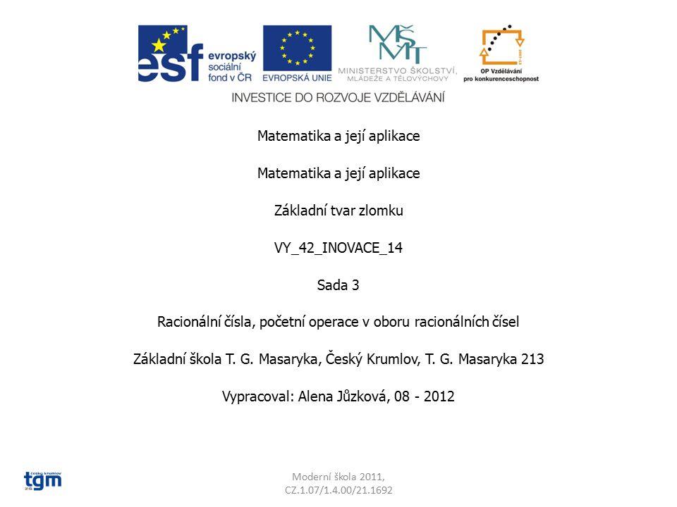 Matematika a její aplikace Základní tvar zlomku VY_42_INOVACE_14 Sada 3 Racionální čísla, početní operace v oboru racionálních čísel Základní škola T.