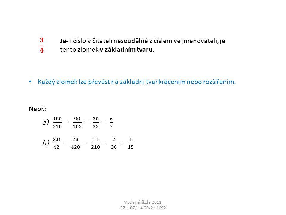 Moderní škola 2011, CZ.1.07/1.4.00/21.1692 Je-li číslo v čitateli nesoudělné s číslem ve jmenovateli, je tento zlomek v základním tvaru.