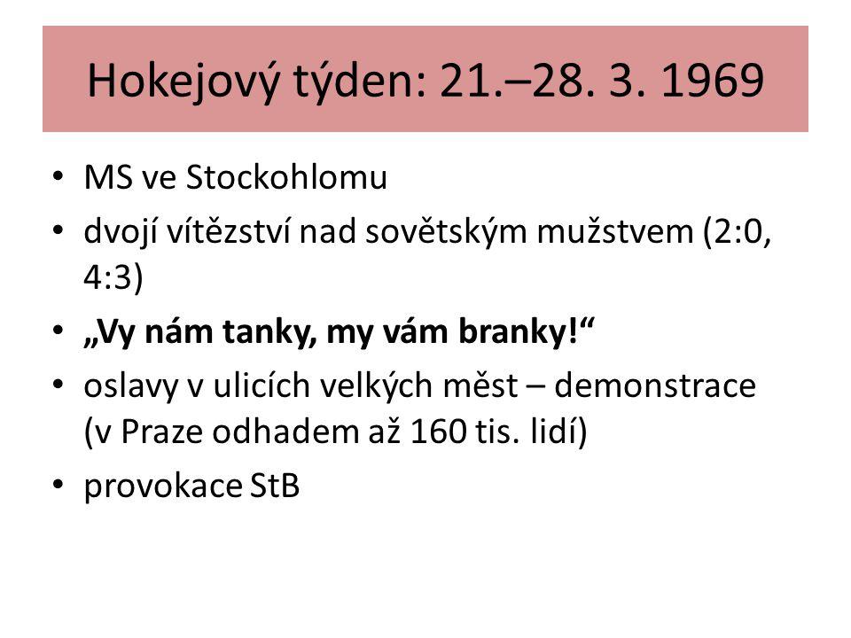 """Hokejový týden: 21.–28. 3. 1969 MS ve Stockohlomu dvojí vítězství nad sovětským mužstvem (2:0, 4:3) """"Vy nám tanky, my vám branky!"""" oslavy v ulicích ve"""