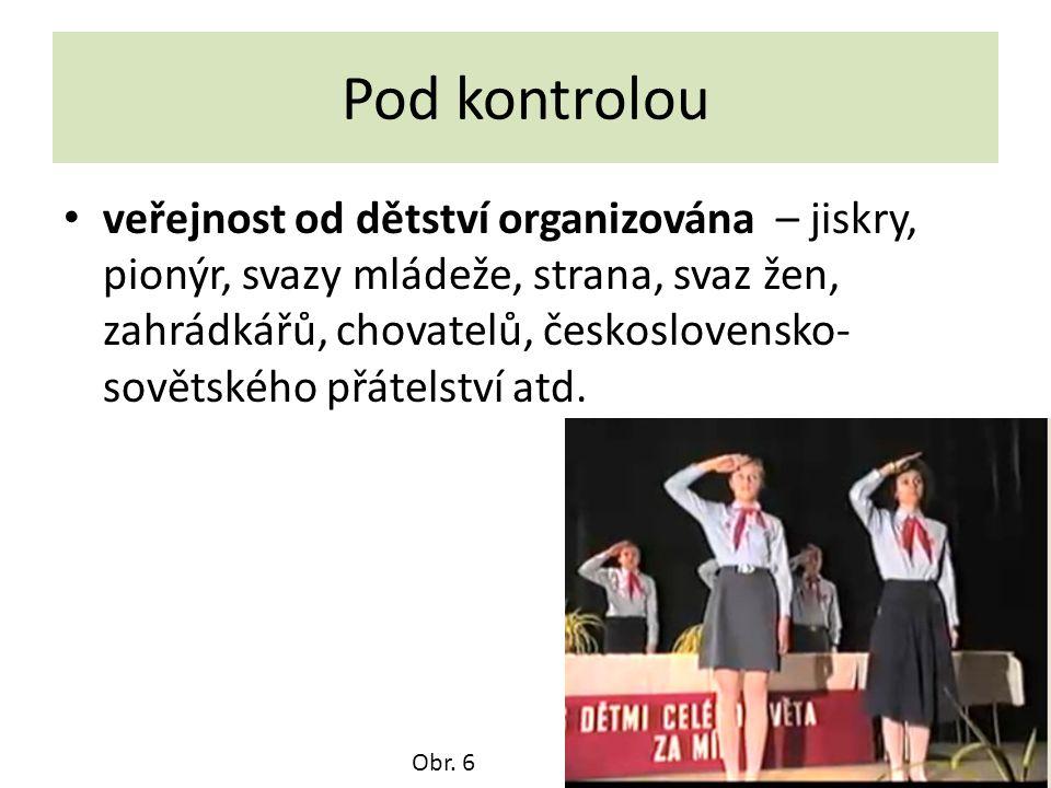 Pod kontrolou veřejnost od dětství organizována – jiskry, pionýr, svazy mládeže, strana, svaz žen, zahrádkářů, chovatelů, československo- sovětského p