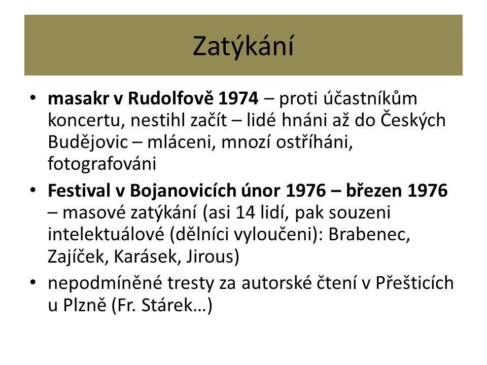 Zatýkání masakr v Rudolfově 1974 – proti účastníkům koncertu, nestihl začít – lidé hnáni až do Českých Budějovic – mláceni, mnozí ostříháni, fotografo