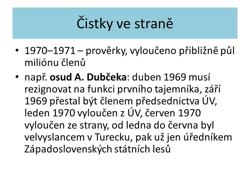 Čistky ve straně 1970–1971 – prověrky, vyloučeno přibližně půl miliónu členů např. osud A. Dubčeka: duben 1969 musí rezignovat na funkci prvního tajem