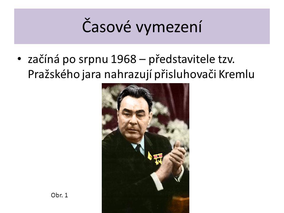 Časové vymezení začíná po srpnu 1968 – představitele tzv. Pražského jara nahrazují přisluhovači Kremlu Obr. 1