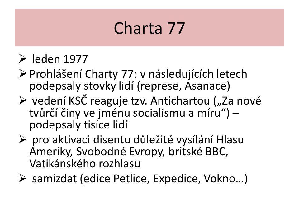 Charta 77  leden 1977  Prohlášení Charty 77: v následujících letech podepsaly stovky lidí (represe, Asanace)  vedení KSČ reaguje tzv. Antichartou (