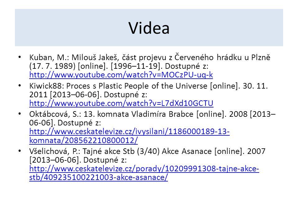 Videa Kuban, M.: Milouš Jakeš, část projevu z Červeného hrádku u Plzně (17. 7. 1989) [online]. [1996–11-19]. Dostupné z: http://www.youtube.com/watch?