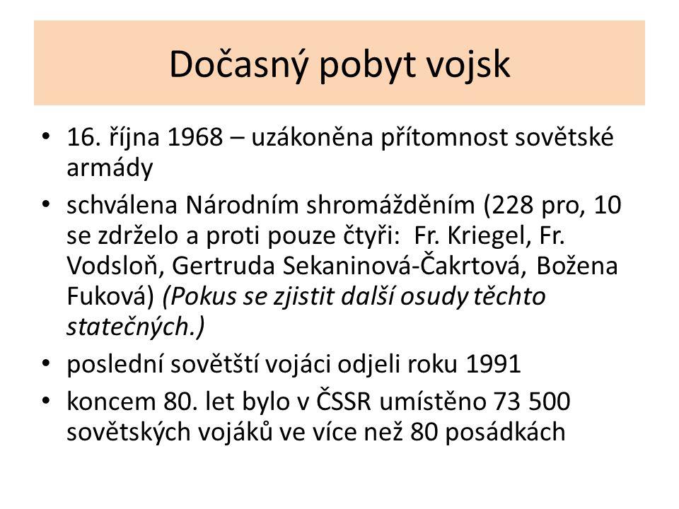 Dočasný pobyt vojsk 16. října 1968 – uzákoněna přítomnost sovětské armády schválena Národním shromážděním (228 pro, 10 se zdrželo a proti pouze čtyři: