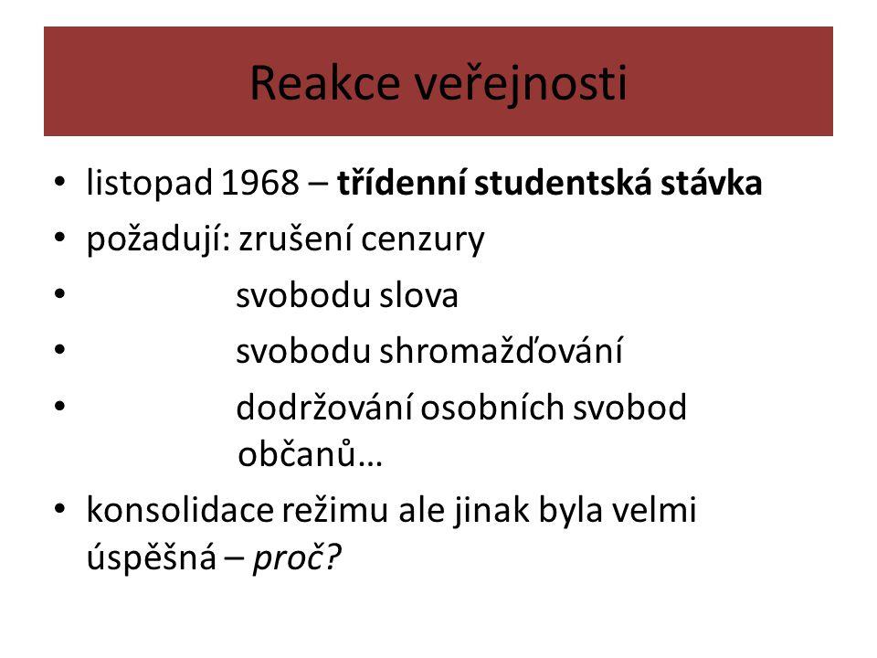 Reakce veřejnosti listopad 1968 – třídenní studentská stávka požadují: zrušení cenzury svobodu slova svobodu shromažďování dodržování osobních svobod