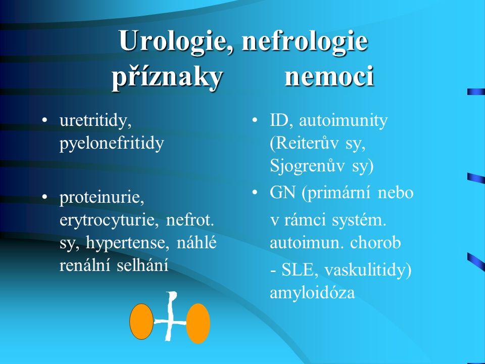 Urologie, nefrologie příznaky nemoci uretritidy, pyelonefritidy proteinurie, erytrocyturie, nefrot. sy, hypertense, náhlé renální selhání ID, autoimun