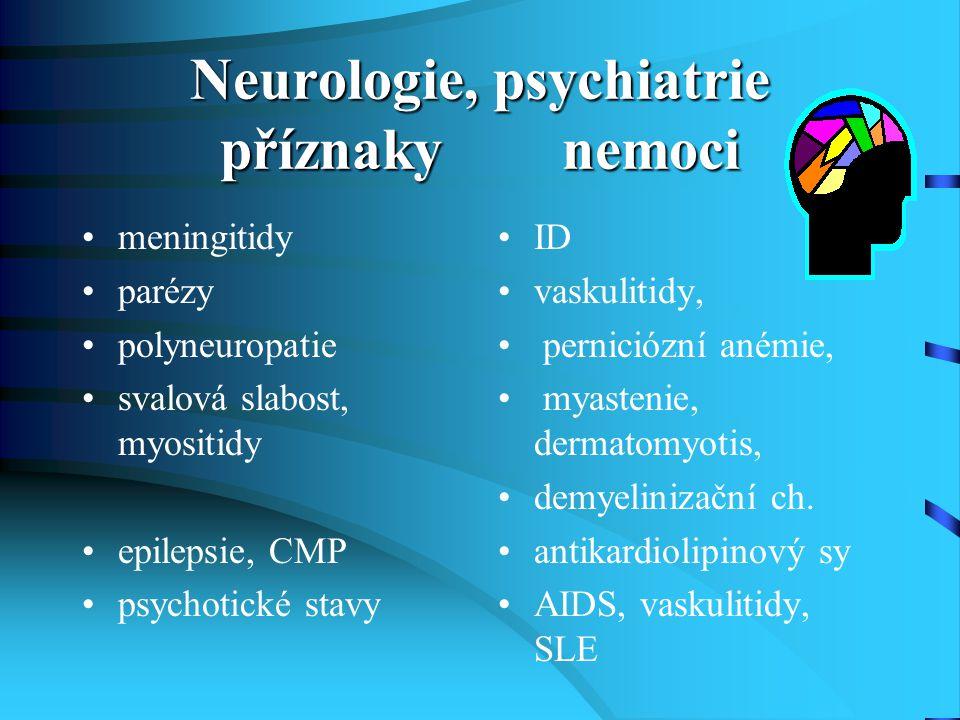 Neurologie, psychiatrie příznaky nemoci meningitidy parézy polyneuropatie svalová slabost, myositidy epilepsie, CMP psychotické stavy ID vaskulitidy,