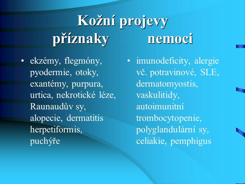 Kožní projevy příznaky nemoci ekzémy, flegmóny, pyodermie, otoky, exantémy, purpura, urtica, nekrotické léze, Raunaudův sy, alopecie, dermatitis herpe