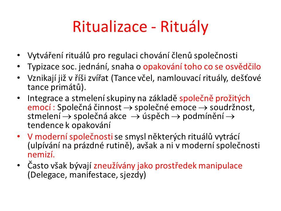 Ritualizace - Rituály Vytváření rituálů pro regulaci chování členů společnosti Typizace soc. jednání, snaha o opakování toho co se osvědčilo Vznikají