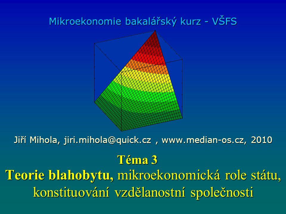 Teorie blahobytu, mikroekonomická role státu, konstituování vzdělanostní společnosti Mikroekonomie bakalářský kurz - VŠFS Jiří Mihola, jiri.mihola@quick.cz, www.median-os.cz, 2010 Téma 3