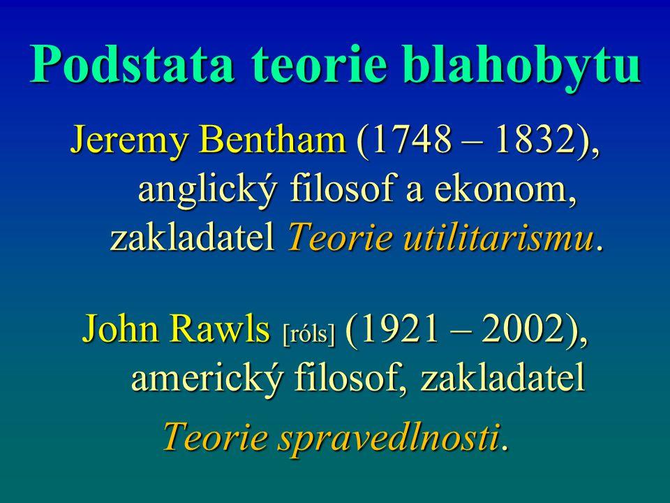 Podstata teorie blahobytu Jeremy Bentham (1748 – 1832), anglický filosof a ekonom, zakladatel Teorie utilitarismu.