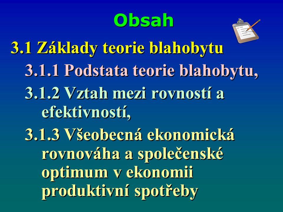 Obsah 3.1 Základy teorie blahobytu 3.1.1 Podstata teorie blahobytu, 3.1.2 Vztah mezi rovností a efektivností, 3.1.3 Všeobecná ekonomická rovnováha a společenské optimum v ekonomii produktivní spotřeby 3.1 Základy teorie blahobytu 3.1.1 Podstata teorie blahobytu, 3.1.2 Vztah mezi rovností a efektivností, 3.1.3 Všeobecná ekonomická rovnováha a společenské optimum v ekonomii produktivní spotřeby