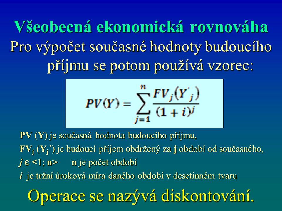 Všeobecná ekonomická rovnováha Pro výpočet současné hodnoty budoucího příjmu se potom používá vzorec: Operace se nazývá diskontování.