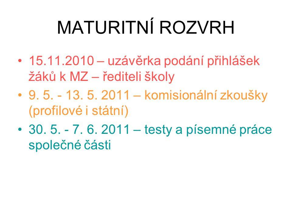 MATURITNÍ ROZVRH 15.11.2010 – uzávěrka podání přihlášek žáků k MZ – řediteli školy 9. 5. - 13. 5. 2011 – komisionální zkoušky (profilové i státní) 30.