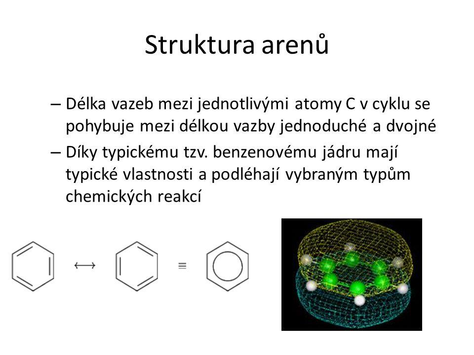 Struktura arenů – Délka vazeb mezi jednotlivými atomy C v cyklu se pohybuje mezi délkou vazby jednoduché a dvojné – Díky typickému tzv. benzenovému já