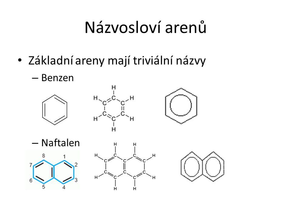 Názvosloví arenů Základní areny mají triviální názvy – Benzen – Naftalen