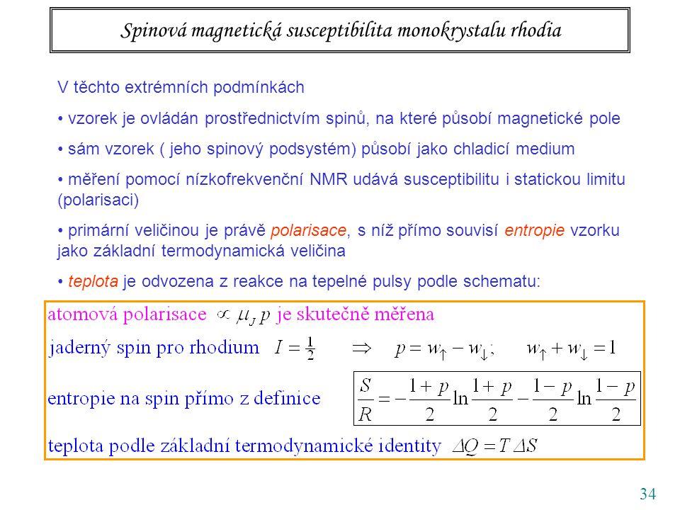 34 Spinová magnetická susceptibilita monokrystalu rhodia V těchto extrémních podmínkách vzorek je ovládán prostřednictvím spinů, na které působí magnetické pole sám vzorek ( jeho spinový podsystém) působí jako chladicí medium měření pomocí nízkofrekvenční NMR udává susceptibilitu i statickou limitu (polarisaci) primární veličinou je právě polarisace, s níž přímo souvisí entropie vzorku jako základní termodynamická veličina teplota je odvozena z reakce na tepelné pulsy podle schematu: