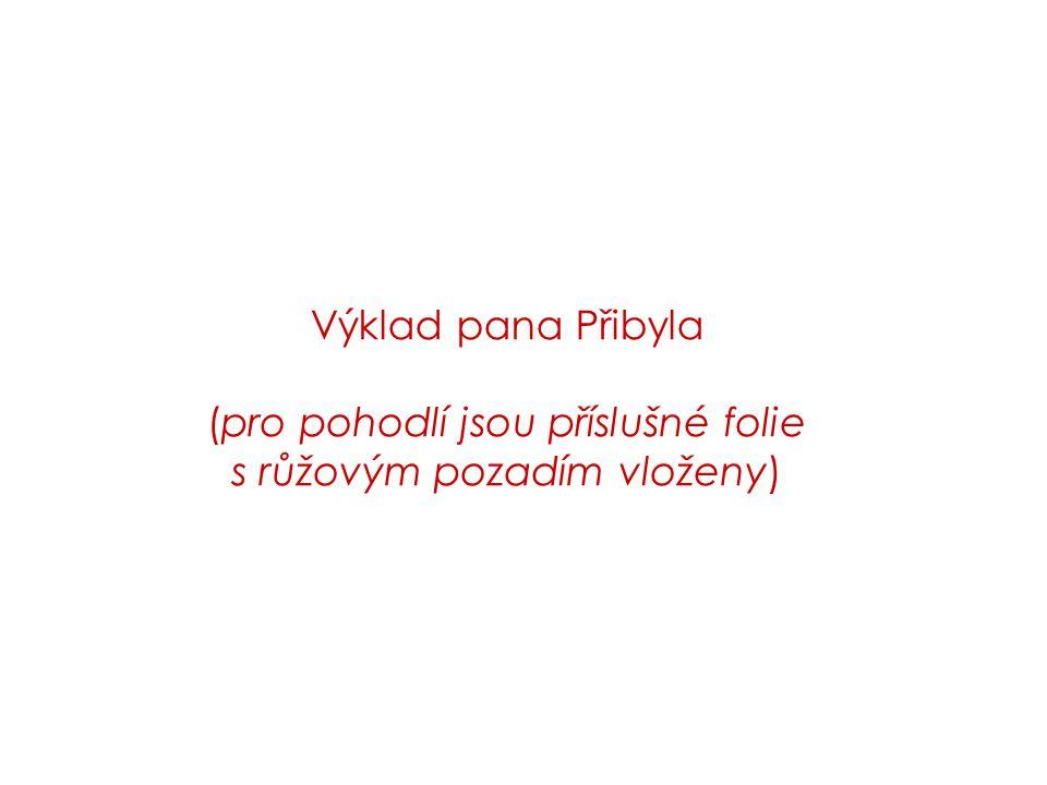 Výklad pana Přibyla (pro pohodlí jsou příslušné folie s růžovým pozadím vloženy)
