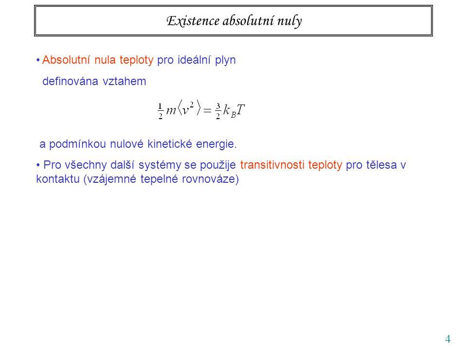 4 Existence absolutní nuly Absolutní nula teploty pro ideální plyn definována vztahem a podmínkou nulové kinetické energie. Pro všechny další systémy