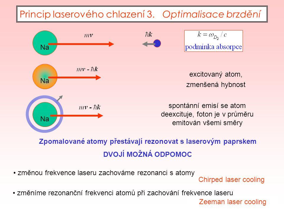 43 Na excitovaný atom, zmenšená hybnost spontánní emisí se atom deexcituje, foton je v průměru emitován všemi směry Princip laserového chlazení 3. Opt