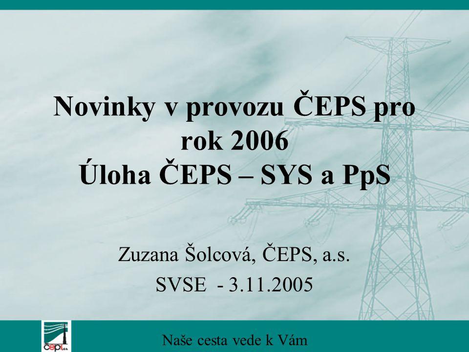 Novinky v provozu ČEPS pro rok 2006 Úloha ČEPS – SYS a PpS Zuzana Šolcová, ČEPS, a.s.