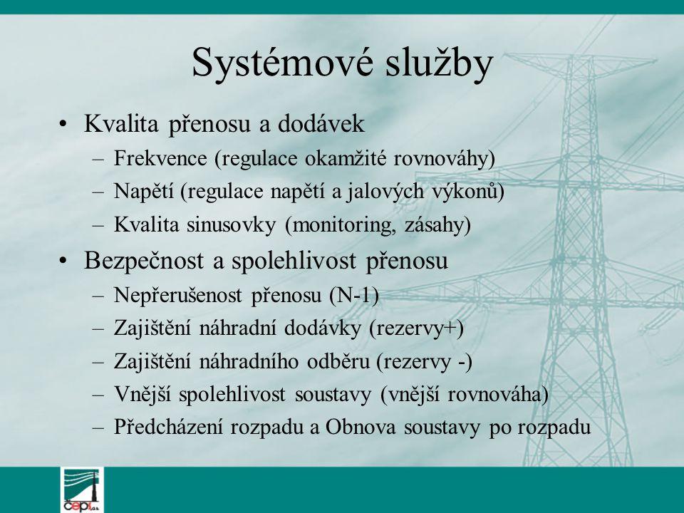 Systémové služby Kvalita přenosu a dodávek –Frekvence (regulace okamžité rovnováhy) –Napětí (regulace napětí a jalových výkonů) –Kvalita sinusovky (monitoring, zásahy) Bezpečnost a spolehlivost přenosu –Nepřerušenost přenosu (N-1) –Zajištění náhradní dodávky (rezervy+) –Zajištění náhradního odběru (rezervy -) –Vnější spolehlivost soustavy (vnější rovnováha) –Předcházení rozpadu a Obnova soustavy po rozpadu