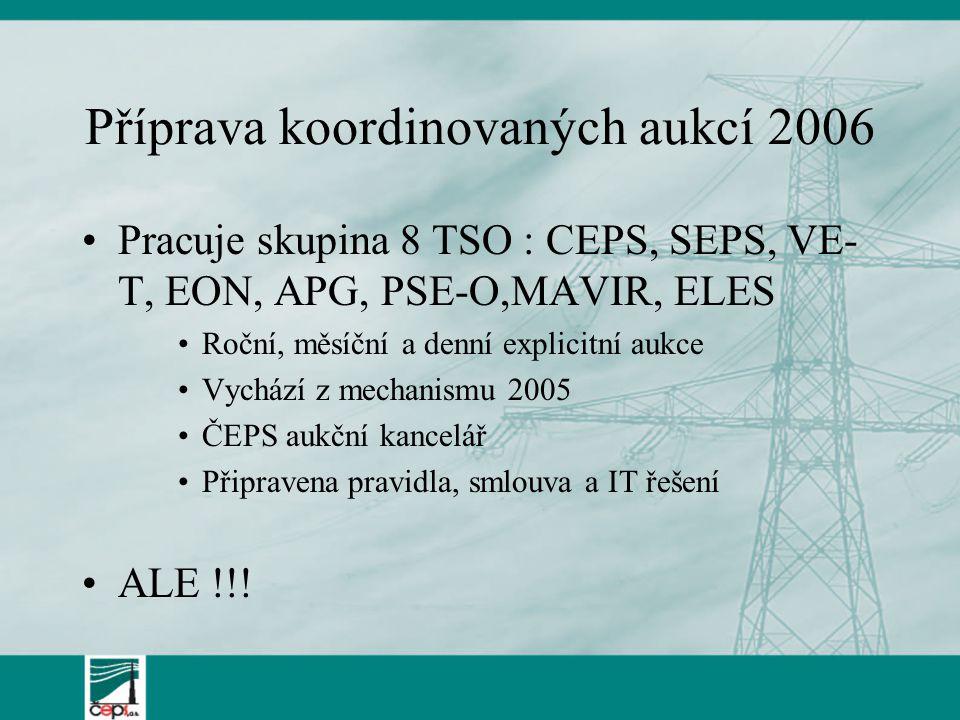 Příprava koordinovaných aukcí 2006 Pracuje skupina 8 TSO : CEPS, SEPS, VE- T, EON, APG, PSE-O,MAVIR, ELES Roční, měsíční a denní explicitní aukce Vychází z mechanismu 2005 ČEPS aukční kancelář Připravena pravidla, smlouva a IT řešení ALE !!!