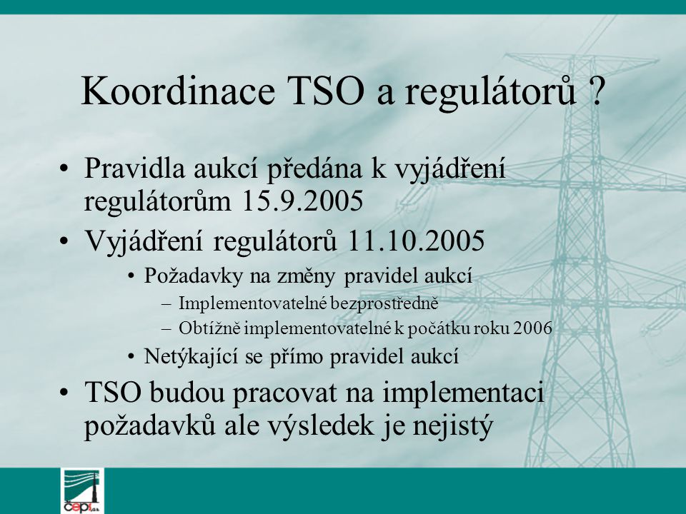 Koordinace TSO a regulátorů .