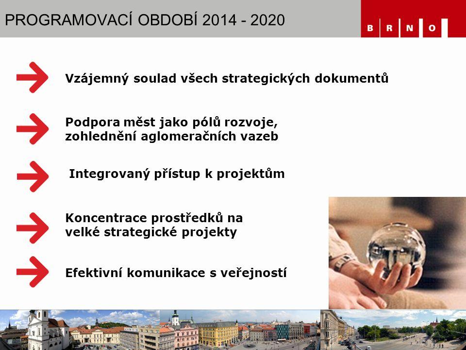 PROGRAMOVACÍ OBDOBÍ 2014 - 2020 Integrovaný přístup k projektům Vzájemný soulad všech strategických dokumentů Koncentrace prostředků na velké strategické projekty Podpora měst jako pólů rozvoje, zohlednění aglomeračních vazeb Efektivní komunikace s veřejností