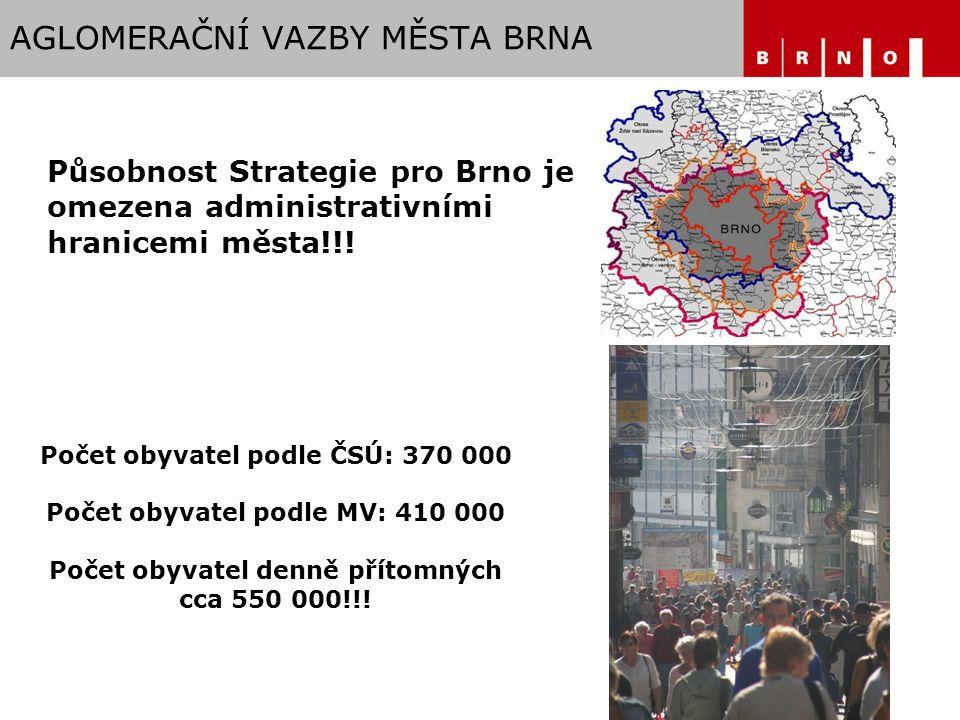 AGLOMERAČNÍ VAZBY MĚSTA BRNA Působnost Strategie pro Brno je omezena administrativními hranicemi města!!.