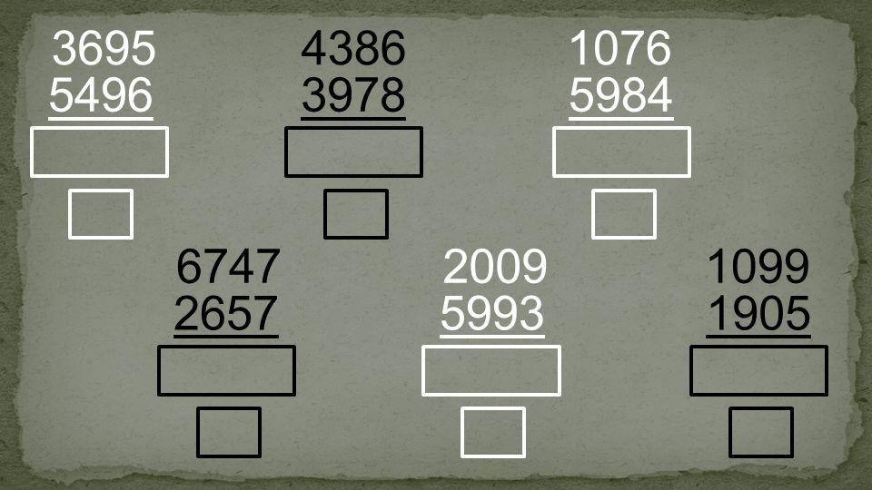 3978 4386 5496 3695 5984 1076 2657 6747 5993 2009 1905 1099