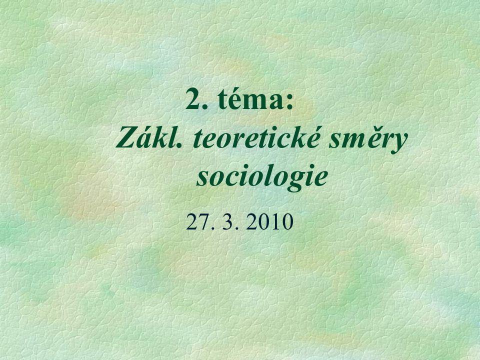 2. téma: Zákl. teoretické směry sociologie 27. 3. 2010