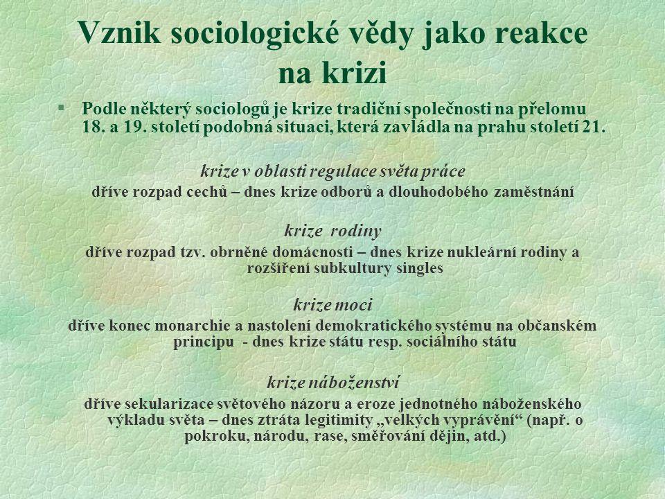 Vznik sociologické vědy jako reakce na krizi §Podle některý sociologů je krize tradiční společnosti na přelomu 18.
