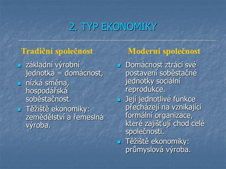 2. TYP EKONOMIKY základní výrobní jednotka = domácnost, základní výrobní jednotka = domácnost, nízká směna, hospodářská soběstačnost. nízká směna, hos