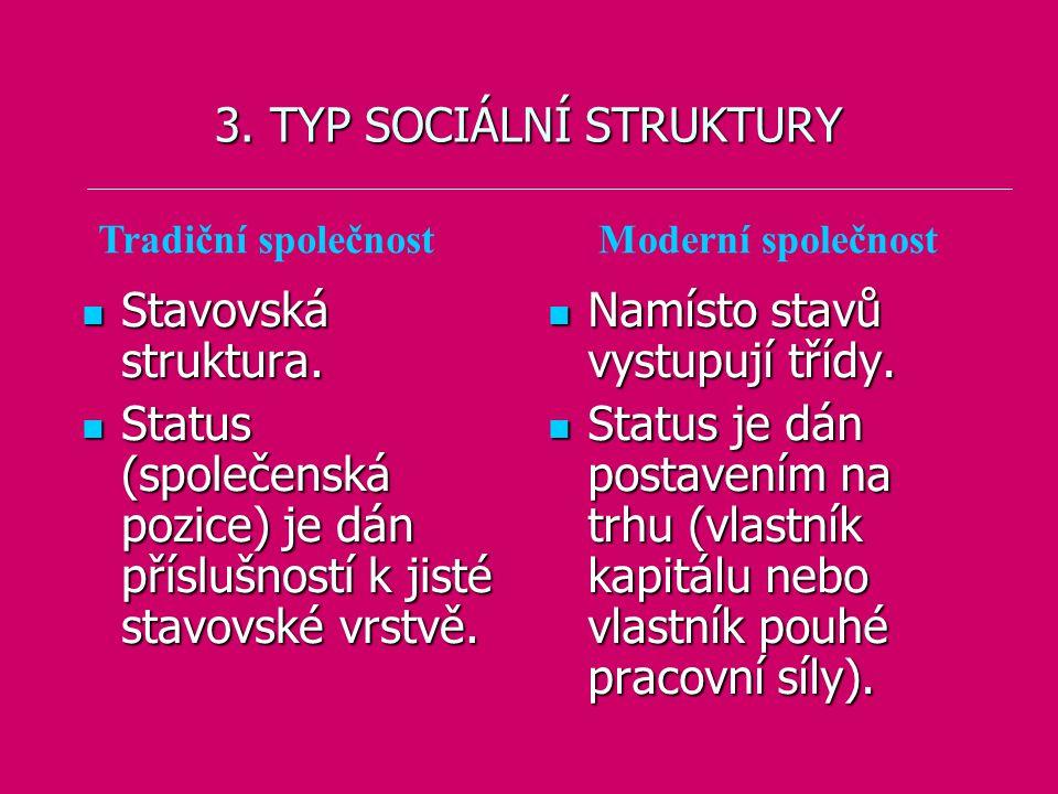 3. TYP SOCIÁLNÍ STRUKTURY Stavovská struktura. Stavovská struktura. Status (společenská pozice) je dán příslušností k jisté stavovské vrstvě. Status (