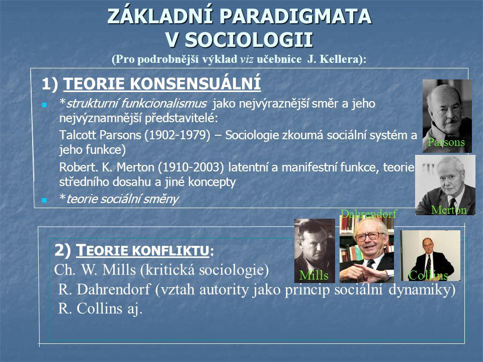 ZÁKLADNÍ PARADIGMATA V SOCIOLOGII ZÁKLADNÍ PARADIGMATA V SOCIOLOGII (Pro podrobnější výklad viz učebnice J. Kellera): 1) TEORIE KONSENSUÁLNÍ *struktur