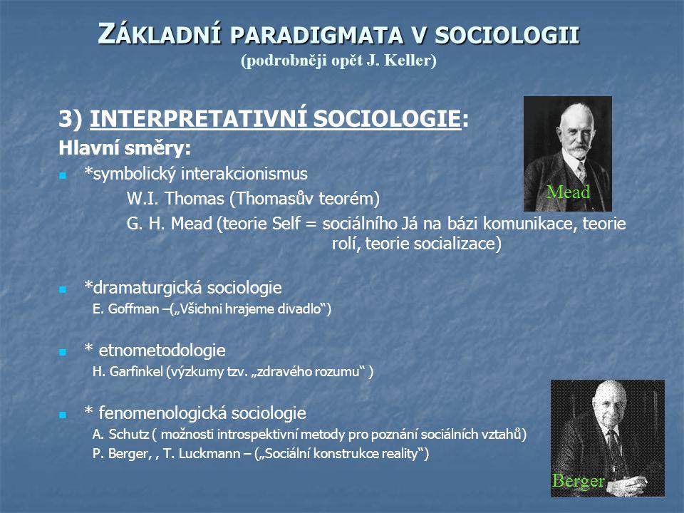 Z ÁKLADNÍ PARADIGMATA V SOCIOLOGII Z ÁKLADNÍ PARADIGMATA V SOCIOLOGII (podrobněji opět J. Keller) 3) INTERPRETATIVNÍ SOCIOLOGIE: Hlavní směry: *symbol