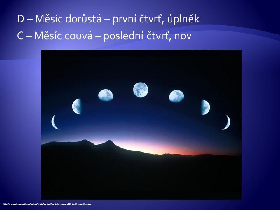 D – Měsíc dorůstá – první čtvrť, úplněk C – Měsíc couvá – poslední čtvrť, nov http://images.tribe.net/tribe/upload/photo/9b5/b0f/9b5b0f17-94b4-466f-b2