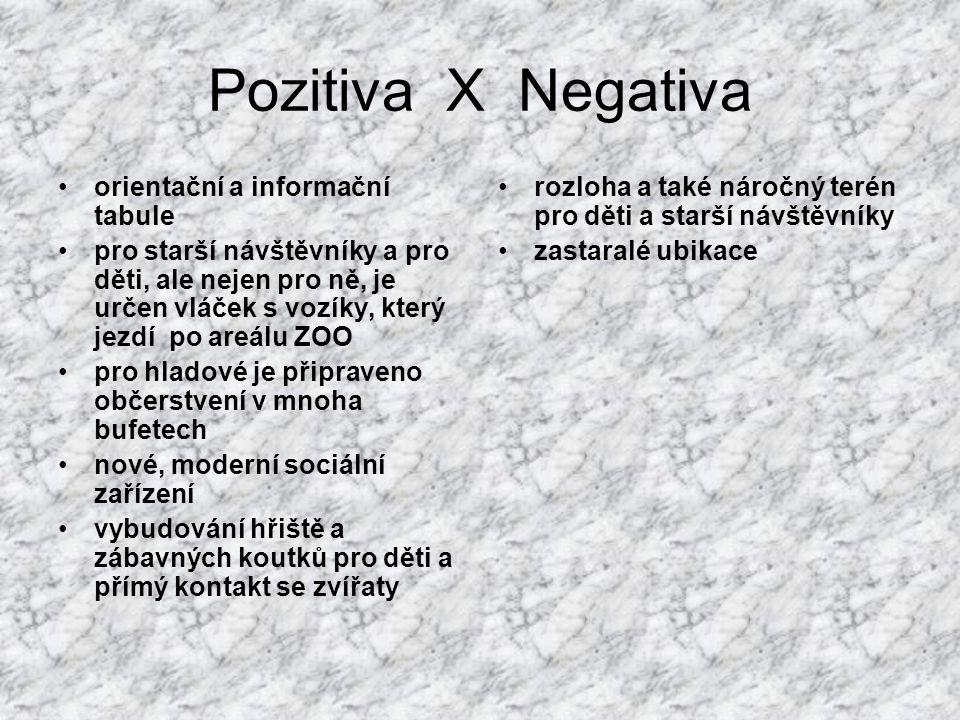 Pozitiva X Negativa orientační a informační tabule pro starší návštěvníky a pro děti, ale nejen pro ně, je určen vláček s vozíky, který jezdí po areál