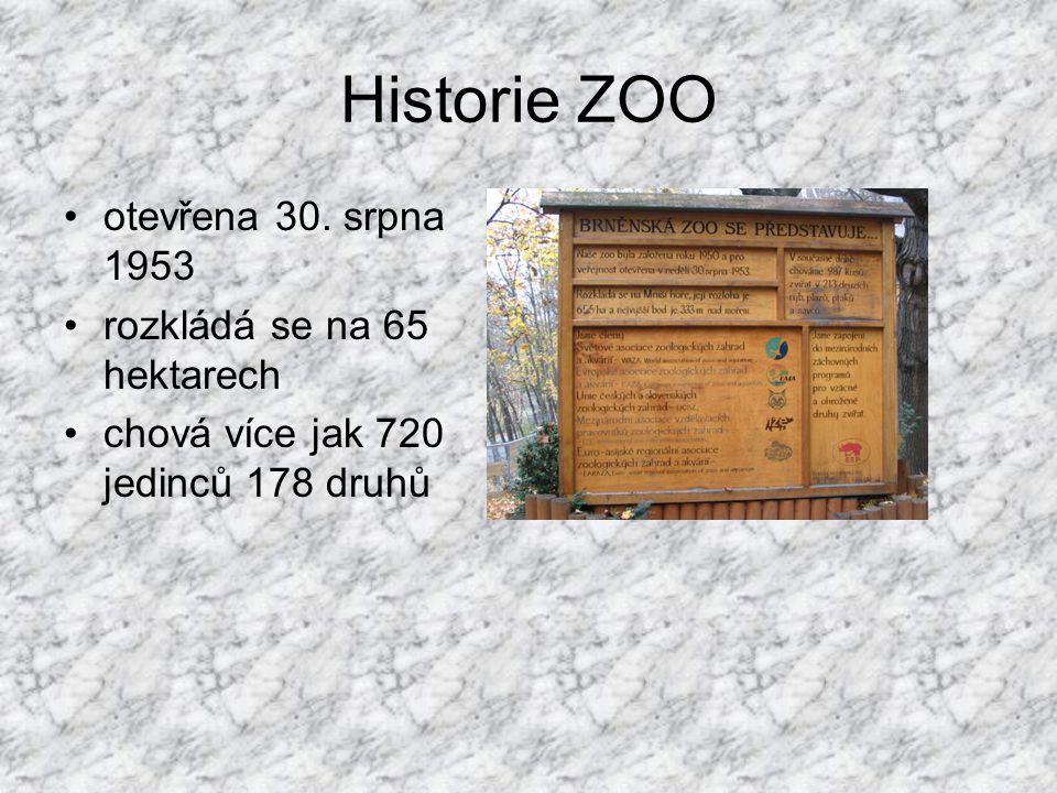 Historie ZOO otevřena 30. srpna 1953 rozkládá se na 65 hektarech chová více jak 720 jedinců 178 druhů