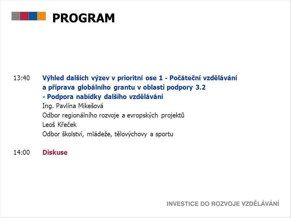 PROGRAM 13:40Výhled dalších výzev v prioritní ose 1 - Počáteční vzdělávání a příprava globálního grantu v oblasti podpory 3.2 - Podpora nabídky dalšíh